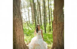 Wedding bride in woods